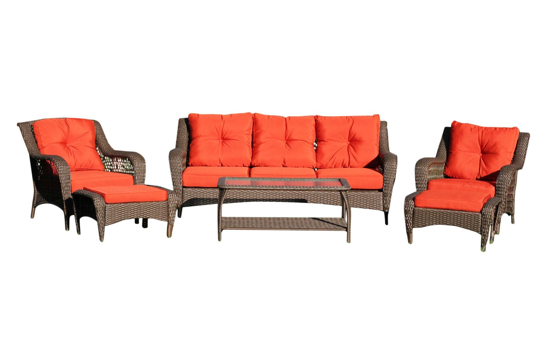 6 Piece Wicker Seating Group With Red