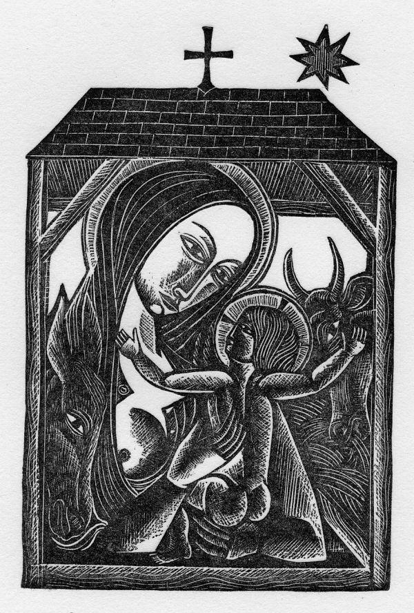 David Jones, Nativity with Cross and Star, Wood engraving ...