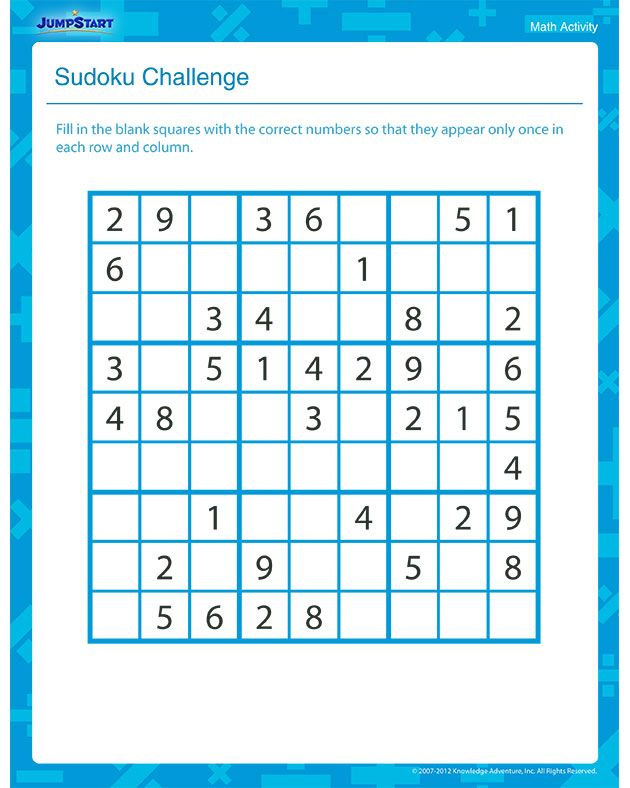 Sudoku Challenge – Printable Math Activity for Grade 3 | Creative ...
