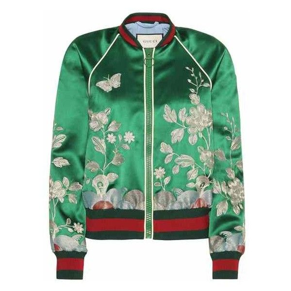 Embroidered silk bomber jacket ($3,150) ❤ liked on Polyvore featuring  outerwear, jackets,