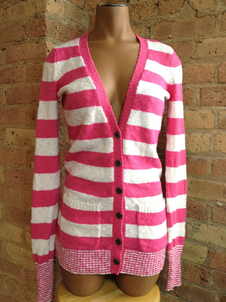 Victoria's Secret Pink Plush Cardigan size X-Small White Striped ...