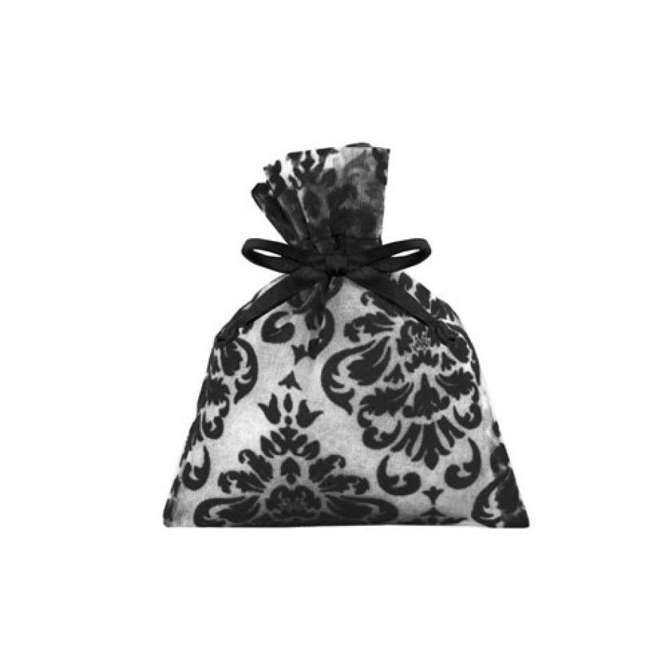 Black Velvet Damask Organza Pouch - 6 Favor Bags (3 Sizes Available ...