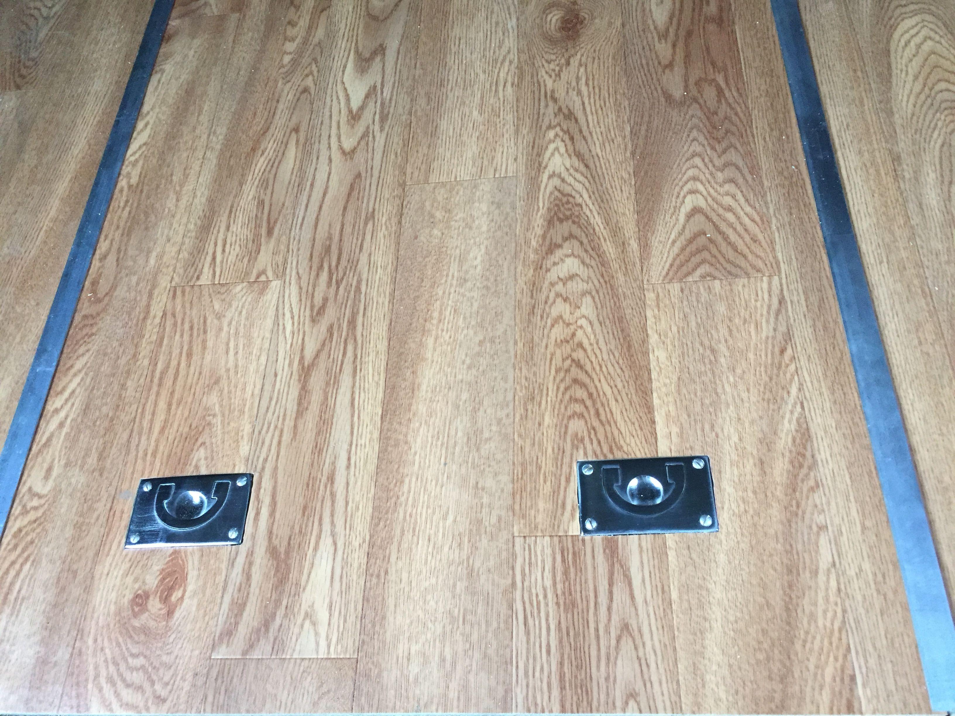 Central Floor Hatch Installed In The Rv Aluminium Trim And Marine Handles Flush With The Floor School Bus Winnebago Camper Van