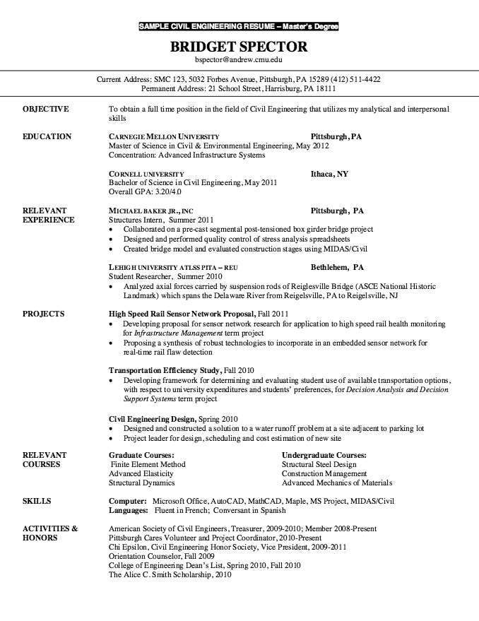 Resume For Master Degree Civil Engineering Free Resume Sample Resume For Graduate School Engineering Resume Resume Examples