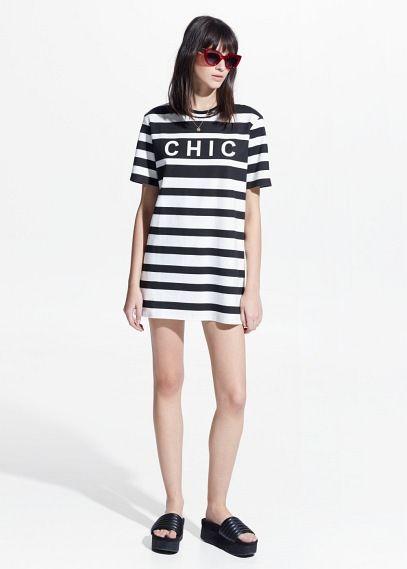 Message striped dress   MANGO