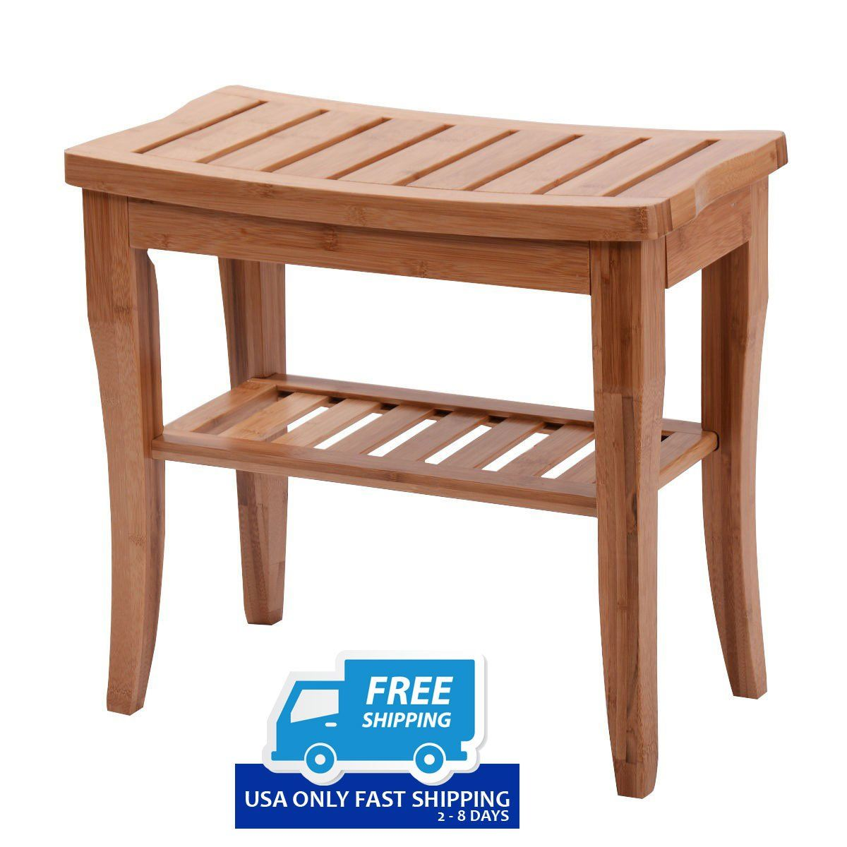 Bamboo Bathroom Shower Bench with Storage Shelf | ByChoiceProducts ...
