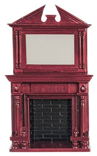 Town Square Miniatures Dollhouse Miniature Fireplace in Mahogany w/Mirror