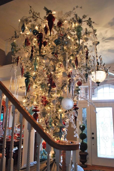 Upside Down Flocked Christmas Tree Upside Down Christmas Tree Black Christmas Trees Christmas Chandelier