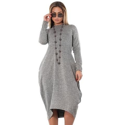 82a29d97429 5XL 6XL Loose Casual Women Dress Big Sizes Fall Winter Long Dress Irregular  Long Sleeve