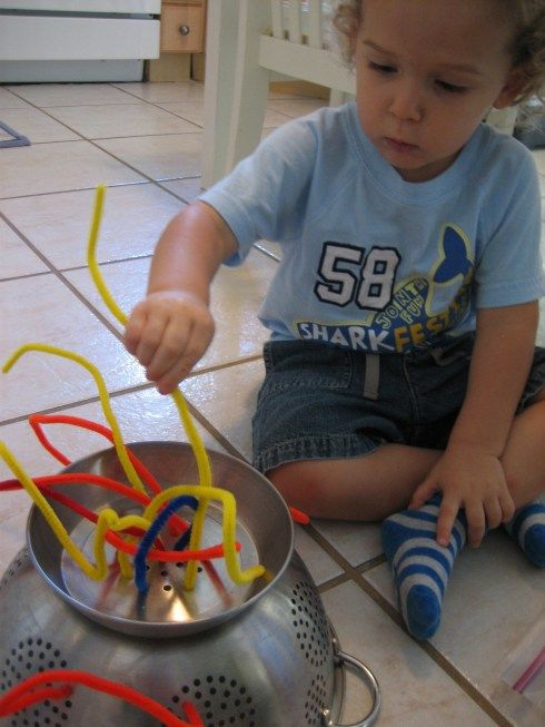 A Strainer And Some Pipe Cleaners For The Kiddos Toddler