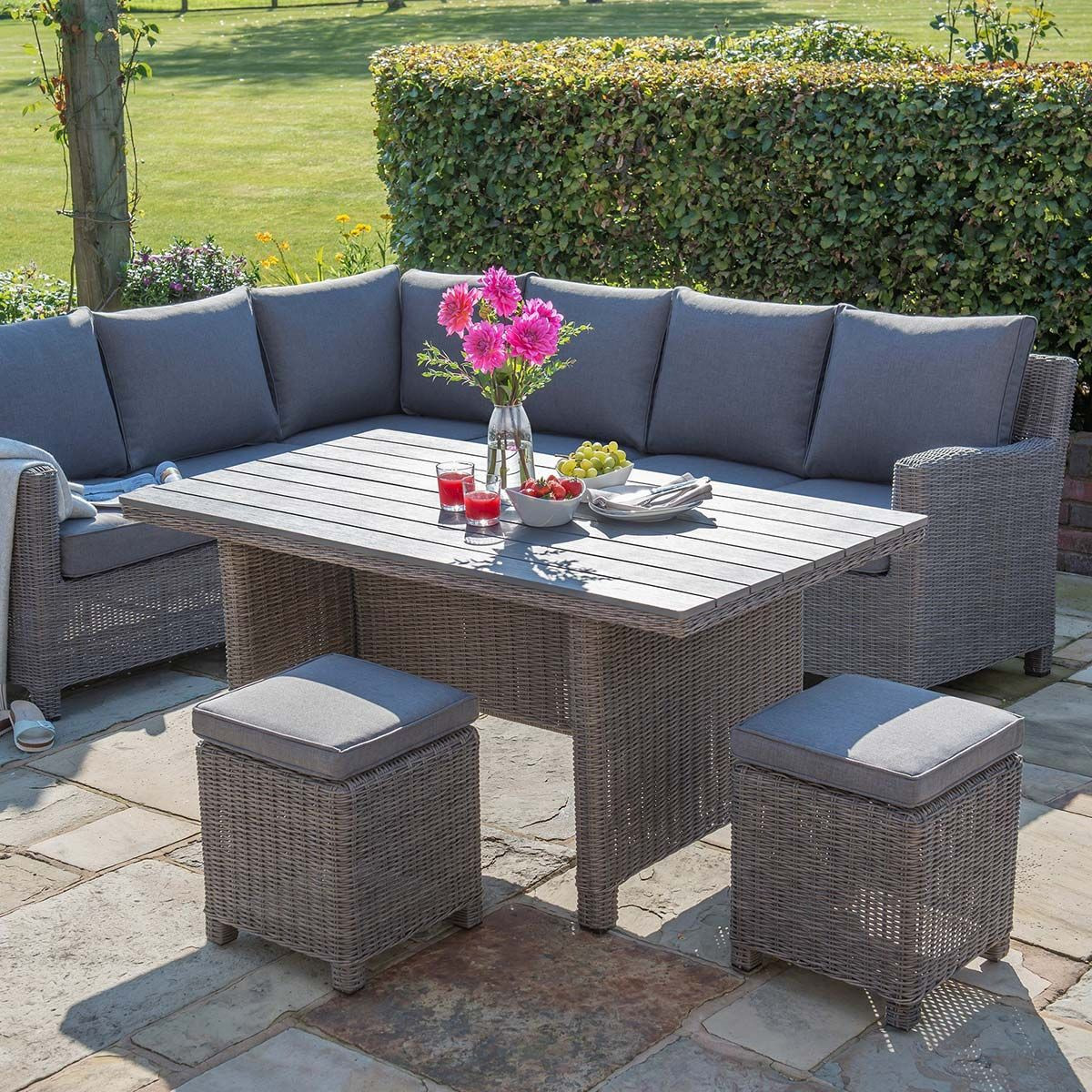 Kettler Palma Casual Dining Corner Set With Side Table - Rattan