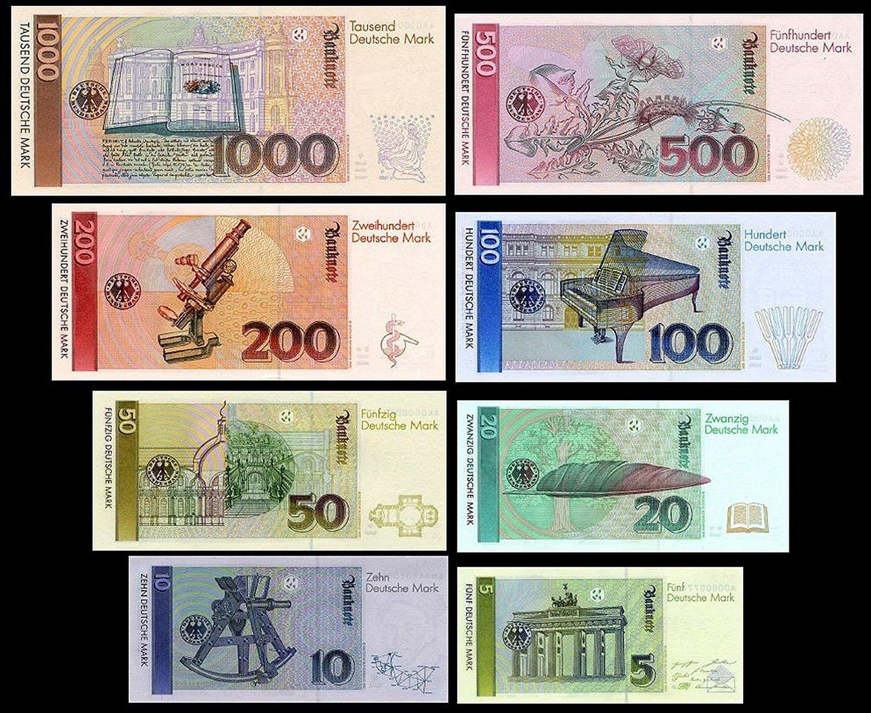 5,10,20,50,100,200,500,1000 DM Geldscheine 1980,1991 2