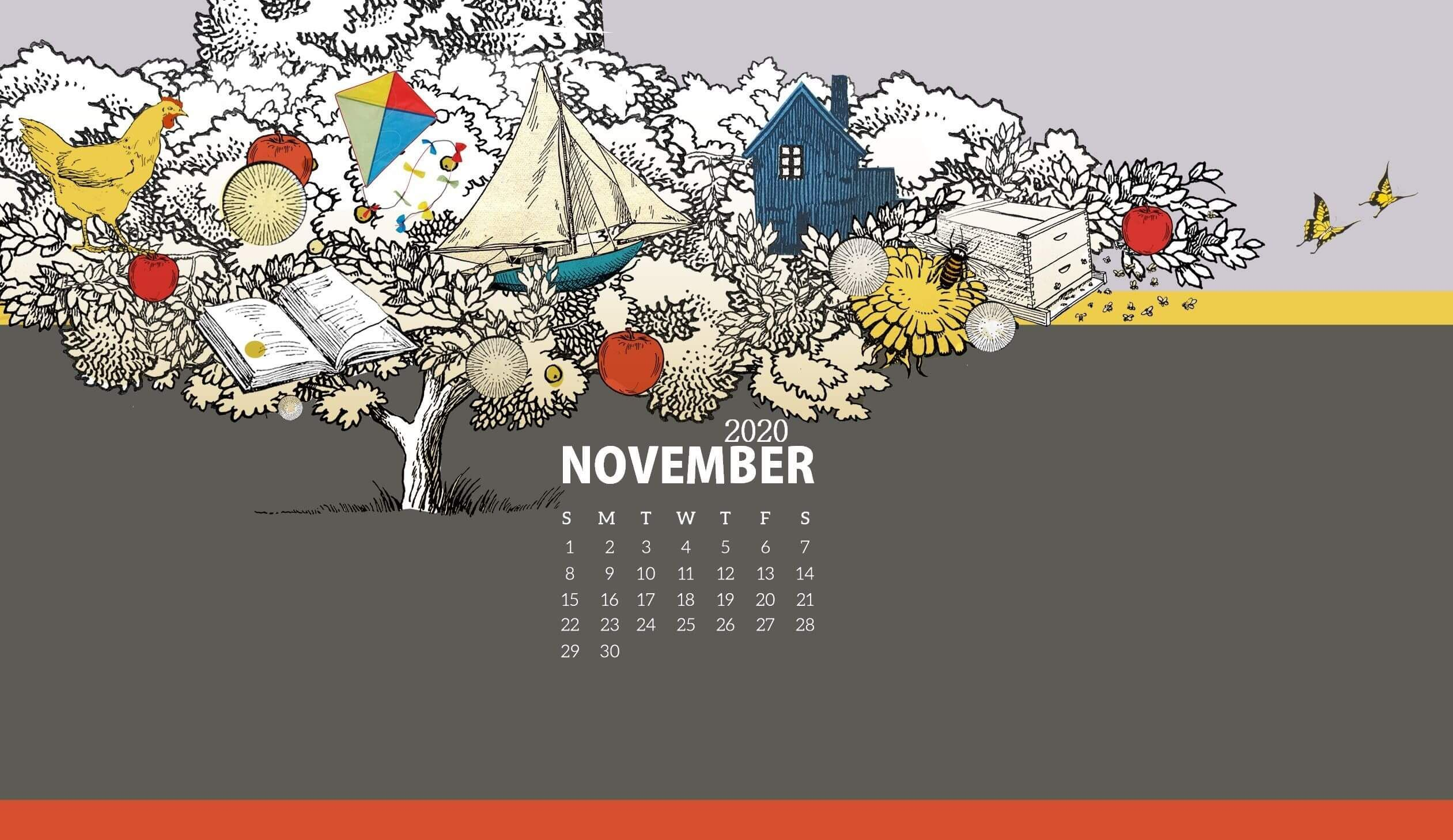 November 2020 Desktop Calendar Wallpaper in 2020