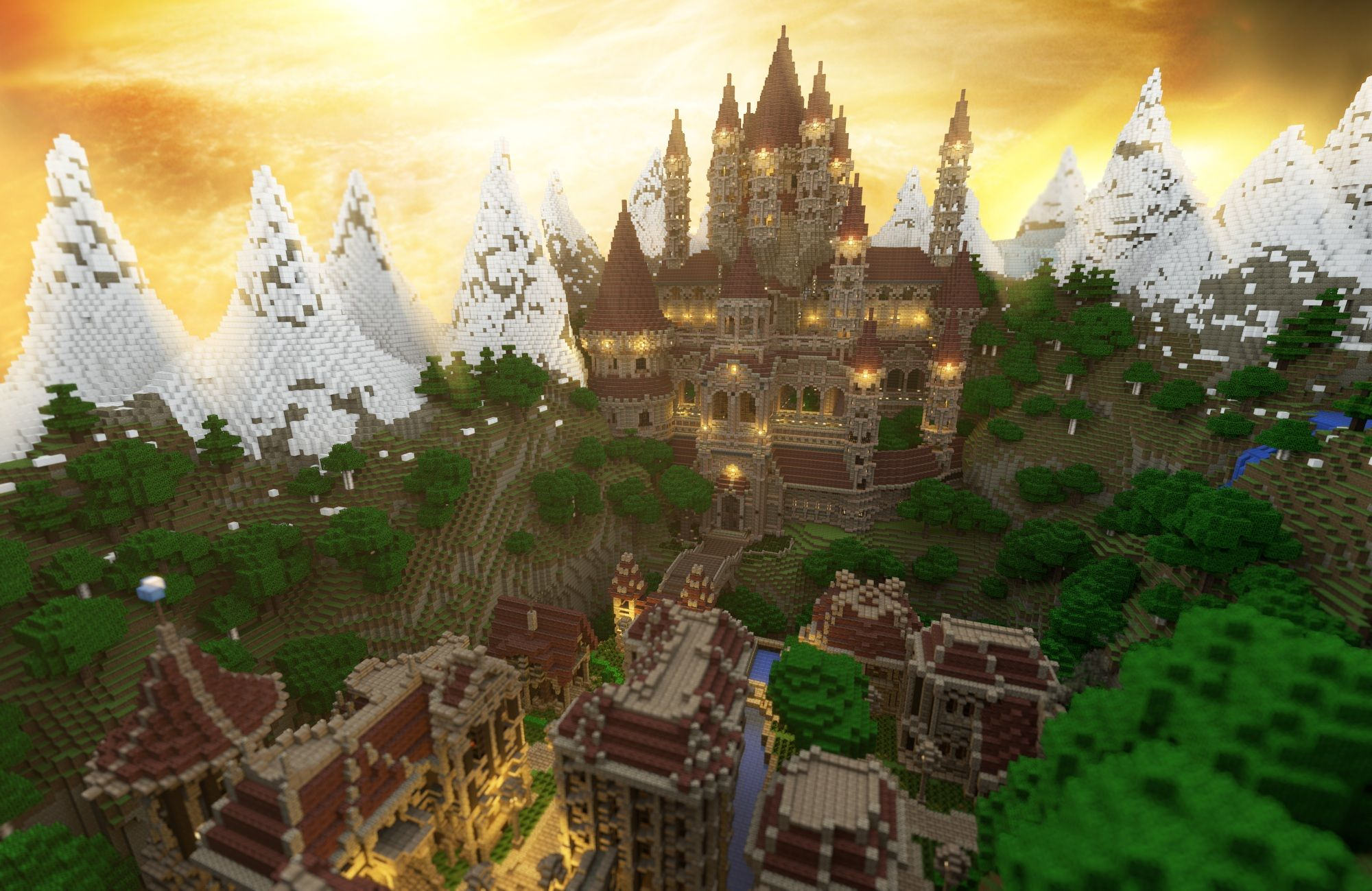 Render of my new upcoming adventure map Minecraft city