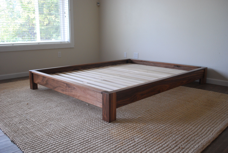 Solid Walnut Low Profile Platform Bed By Bnl Hardwood Furniture At Bnlhardwoodfurniture Etsy Com Simple Bed Frame Hardwood Bed Platform Bed