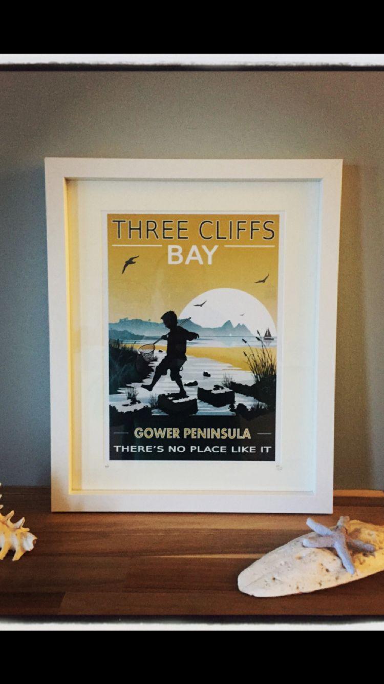 A4 Gower retro art print. ( Three cliffs Bay) Gower South Wales ...