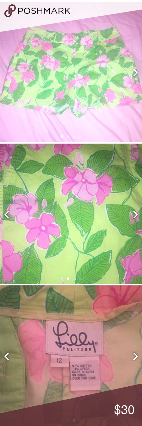 Lilly Pulitzer floral print shorts Lilly Pulitzer pink and green floral print shorts. In good condition. Size 12. White label lilly. Lilly Pulitzer Shorts