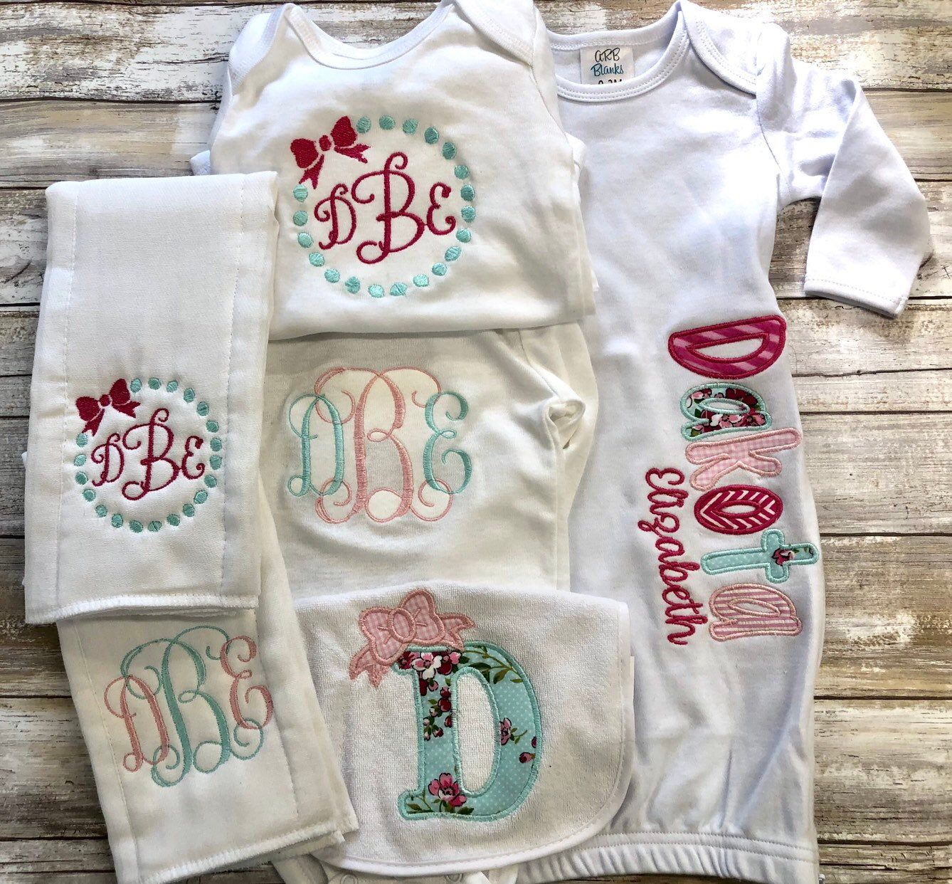 Set of 3-1 Burp Cloths and 2 onesies Baby Gifts Coordinating baby gift set.