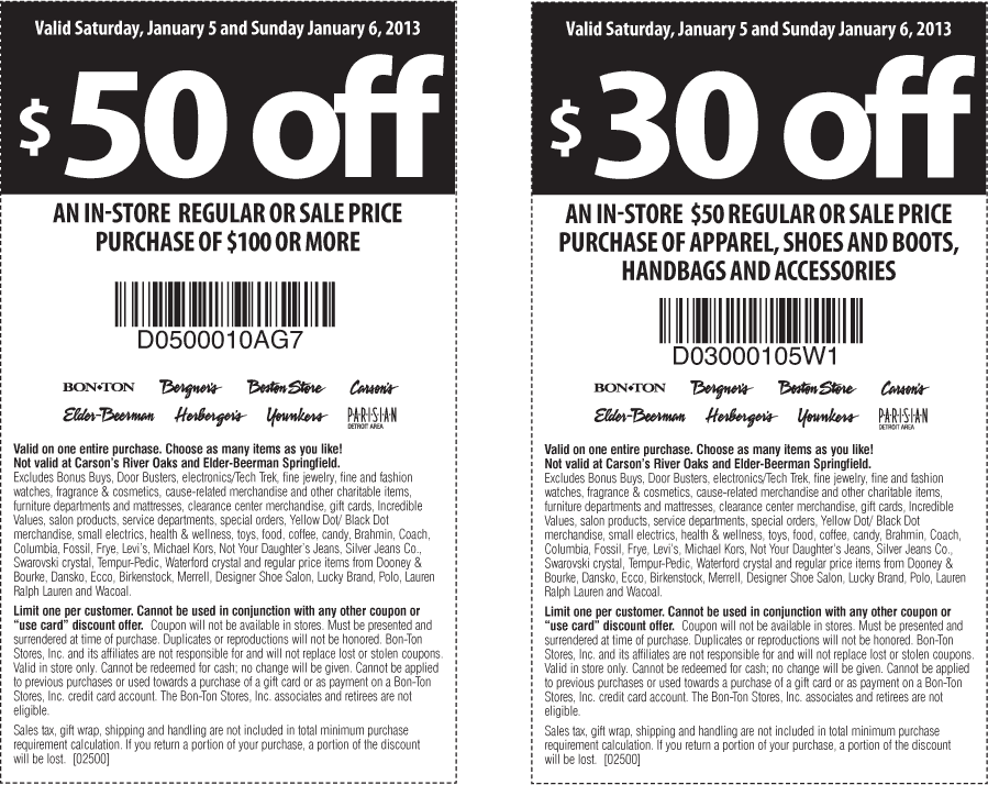 photo regarding Bon Ton Printable Coupon known as $30 off $50 upon dresses excess at Bon Great deal, Bergners, Boston