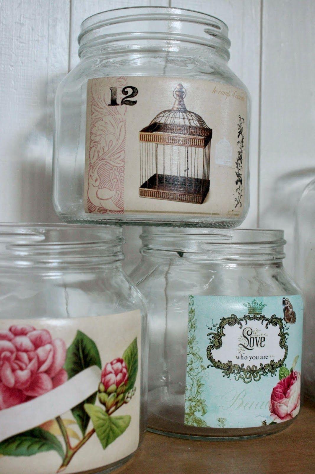 Frascos sencillos con decoupage frascos de vidrio - Diy frascos decorados ...