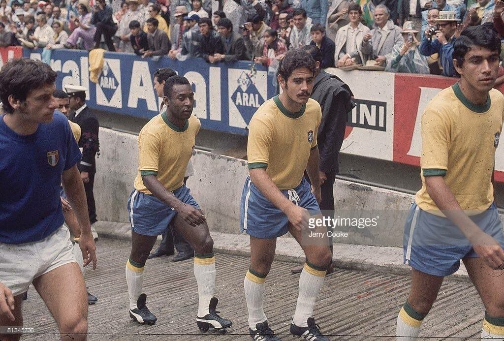 WC1970: Brazil vs Italy; Bertini, Pelé, Rivelino and Clodoaldo.