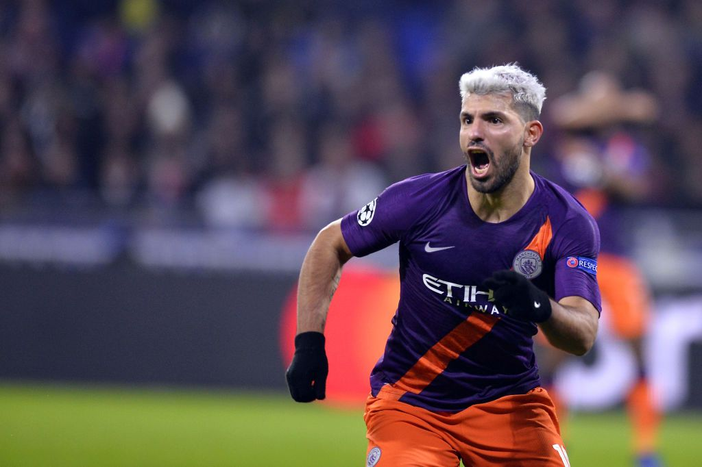 Sergio Aguero Of Manchester City Reacts After Scoring During The Manchester City Manchester Uefa Champions League