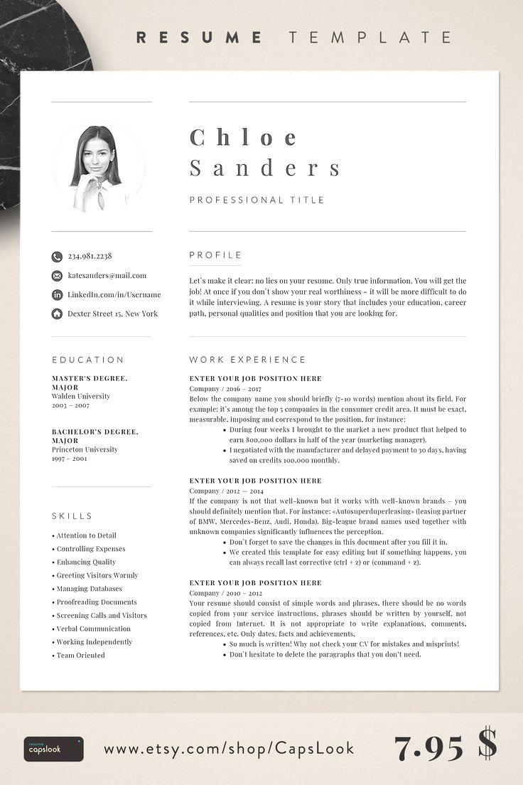 Resume template etsy 2019 resume resumeexamples