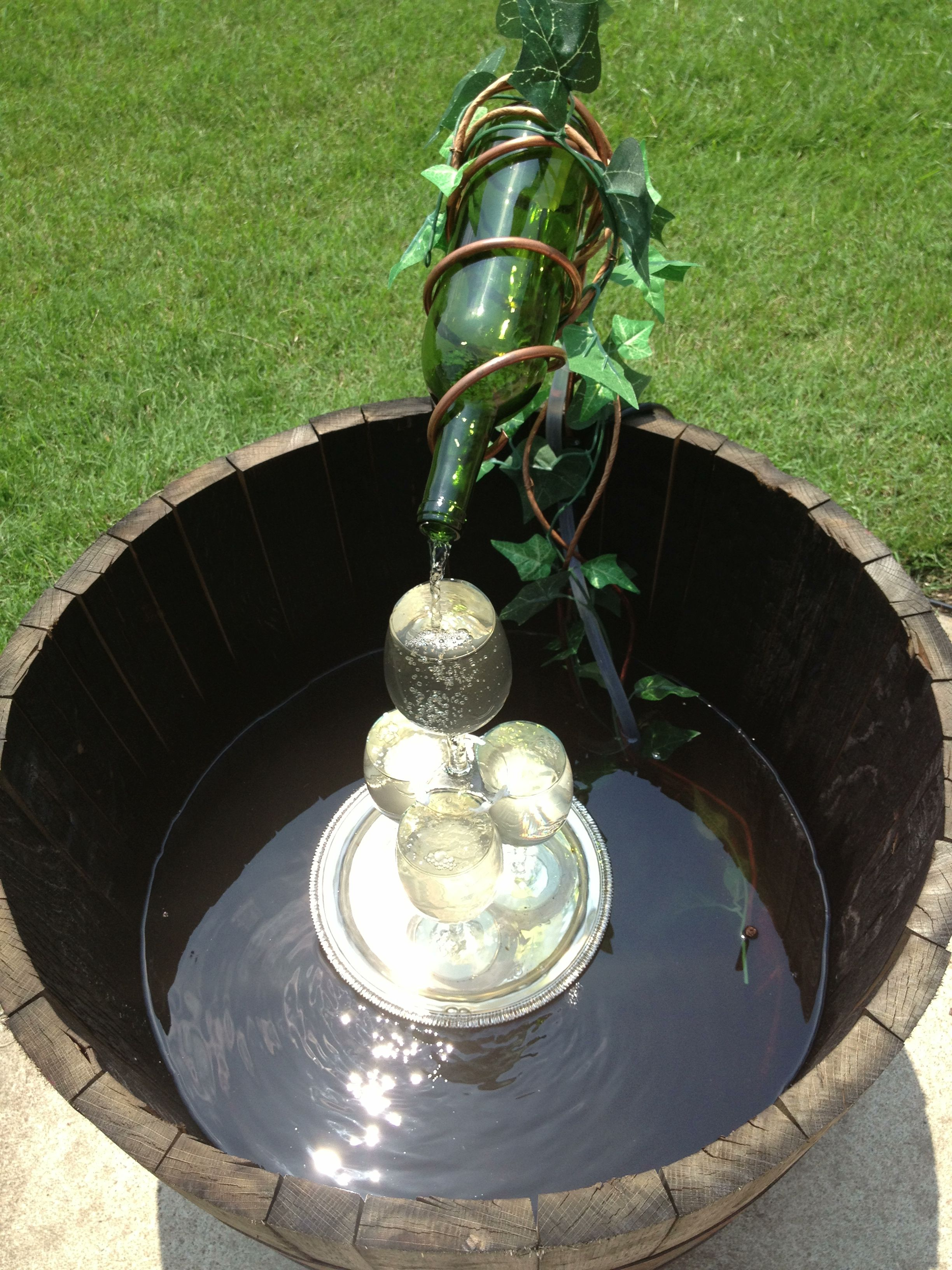 DIY wine barrel fountain DIY wine barrel