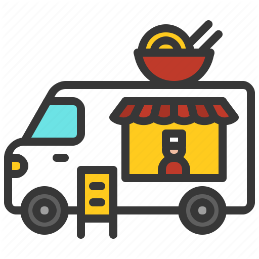Food Japanese Noodle Ramen Shop Truck Icon Download On Iconfinder Truck Icon Easy Drawings Icon