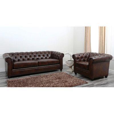 Abbyson Living Foyer Premium Italian Leather Sofa and Arm Chair Set