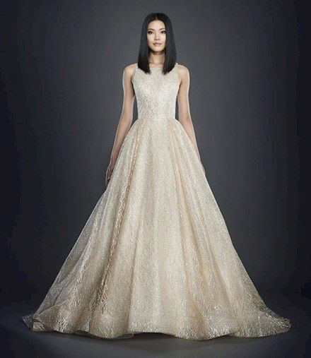 Lazaro 3714 Champagne Silver Shimmer Tulle Bridal Ball Gown Bateau Neckline Sheer Cutouts