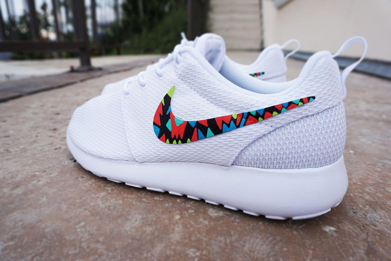 timeless design d43ce d4170 Womens Custom Nike Roshe Run sneakers, White on White nike roshe, trendy,  stylish design, tribal pattern, All white shoes, lime, blue, kiwi colors