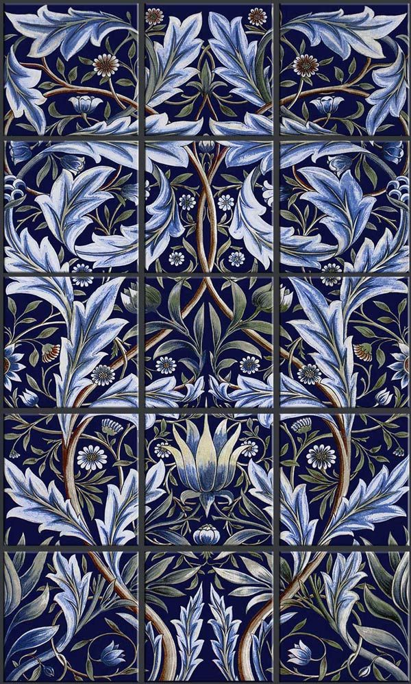 Membland Tile backsplash, borders and fireplace surround. The Membland Tile Panel was originally designed on commission by: William Morris and, produced by William De Morgan for Morris and Co.
