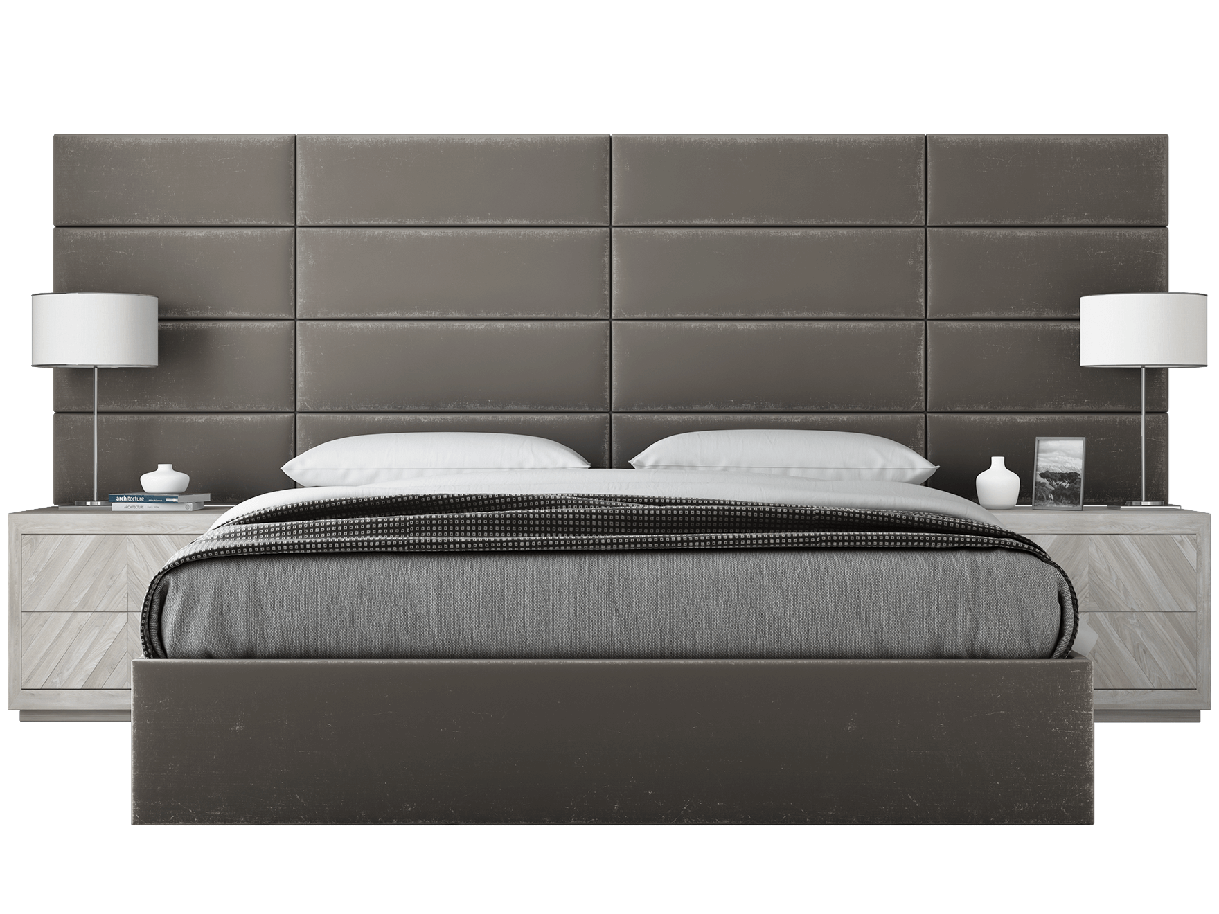 Vant Platform Bed Upholstered Walls King Size Headboard Upholstered Wall Panels