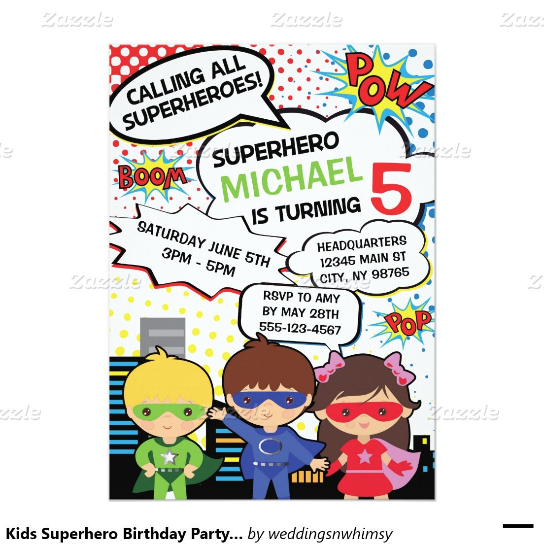 Kids Superhero Birthday Party Invite Boy Girl Hero | Superhero ...