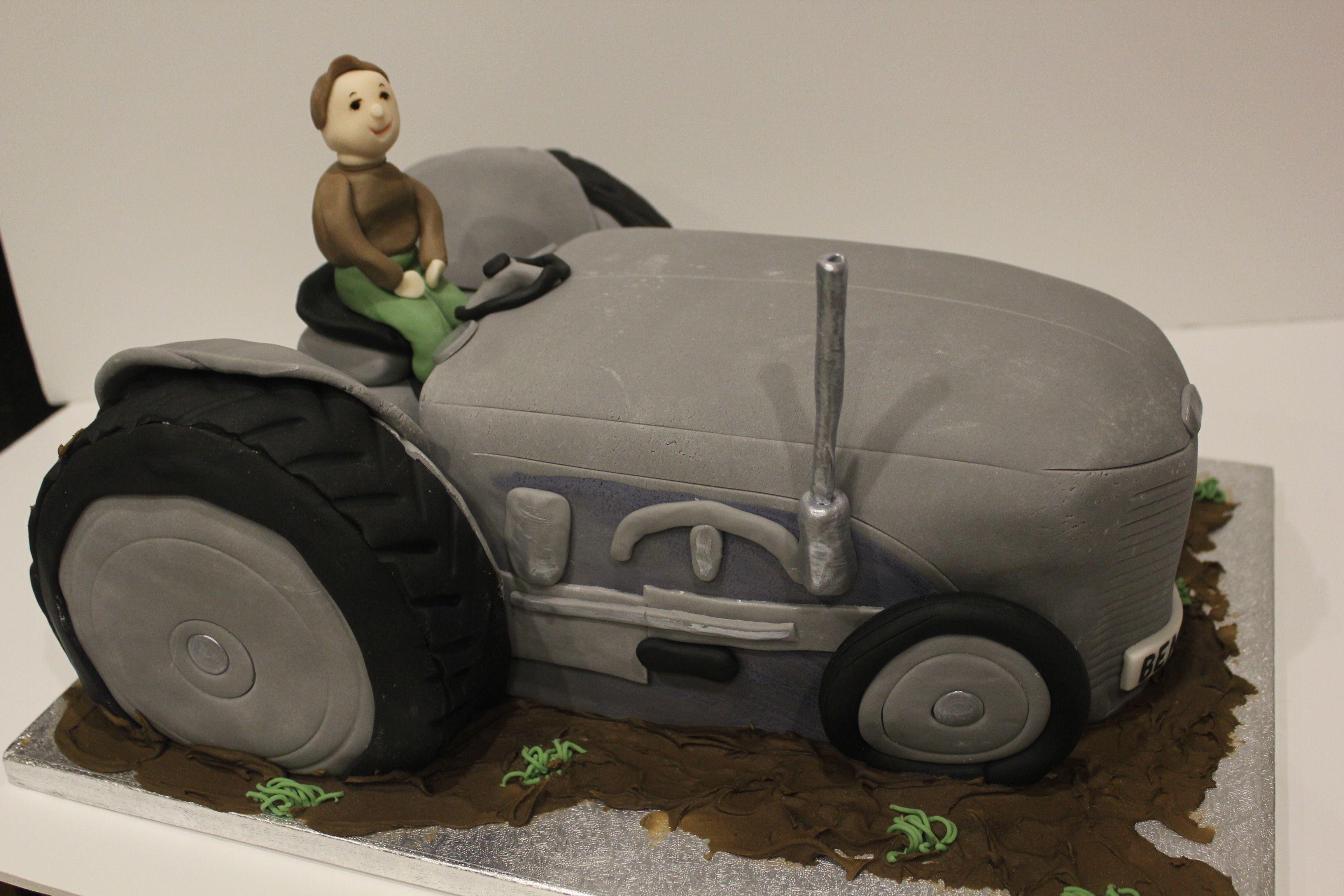 Grey tractor birthday cake