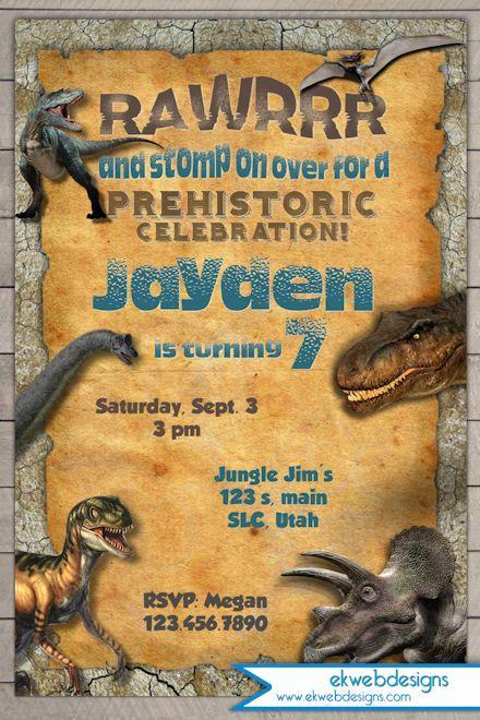 Dinosaur Birthday Invitation Jurassic World Invitation Dinosaur Birthday Dinosaur Birthday Invitations Dinosaur Theme Party