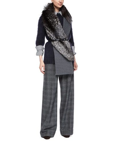 -62WU Michael Kors Mohair-Blend Half-Sleeve Sweater, Stripe Button-Front Shirt, Wide-Leg Pleated Pants & Accessories