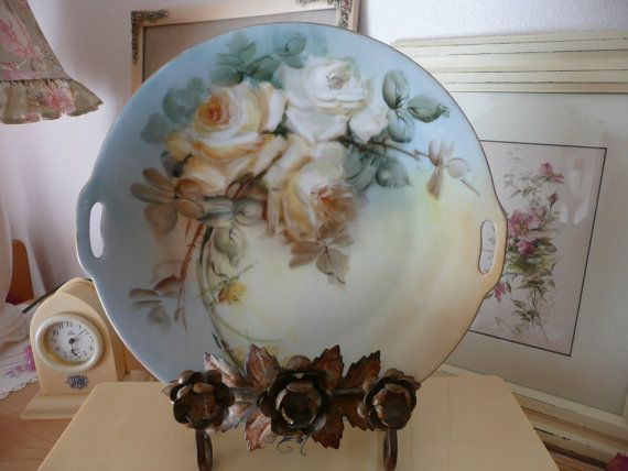 Antique ROSE Serving PLATE! 2 Handled~Hand Painted H \u0026 C Bavarian Porcelain China & Antique ROSE Serving PLATE! 2 Handled~Hand Painted H \u0026 C Bavarian ...