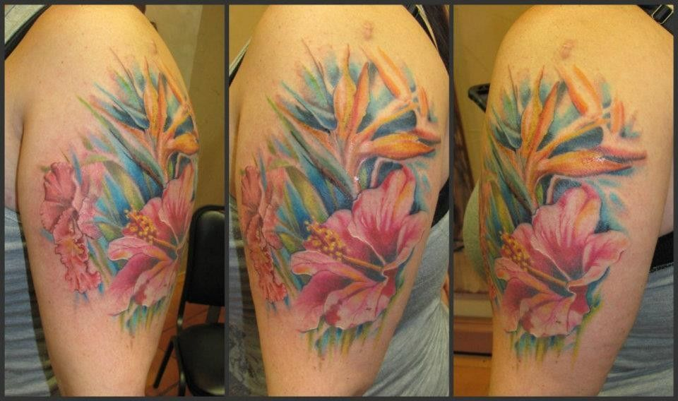 hibiscus and bird of paradise Floral tattoo