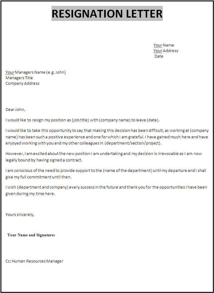 Resignation Letter Template Professional resignation