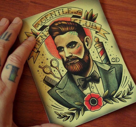 Gentlemens club tattoo art bumper sticker