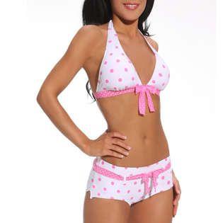 a5d1b404ea64c Hot From Hollywood Cute Retro Polka Dot hipster BoyShorts Bikini Swimsuit  at Sears.com