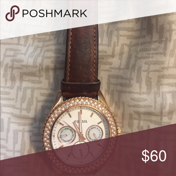 Fossil Watch Leather and Rose Gold Fossil Watch recently cleaned and polisher! Fossil Accessories Watches