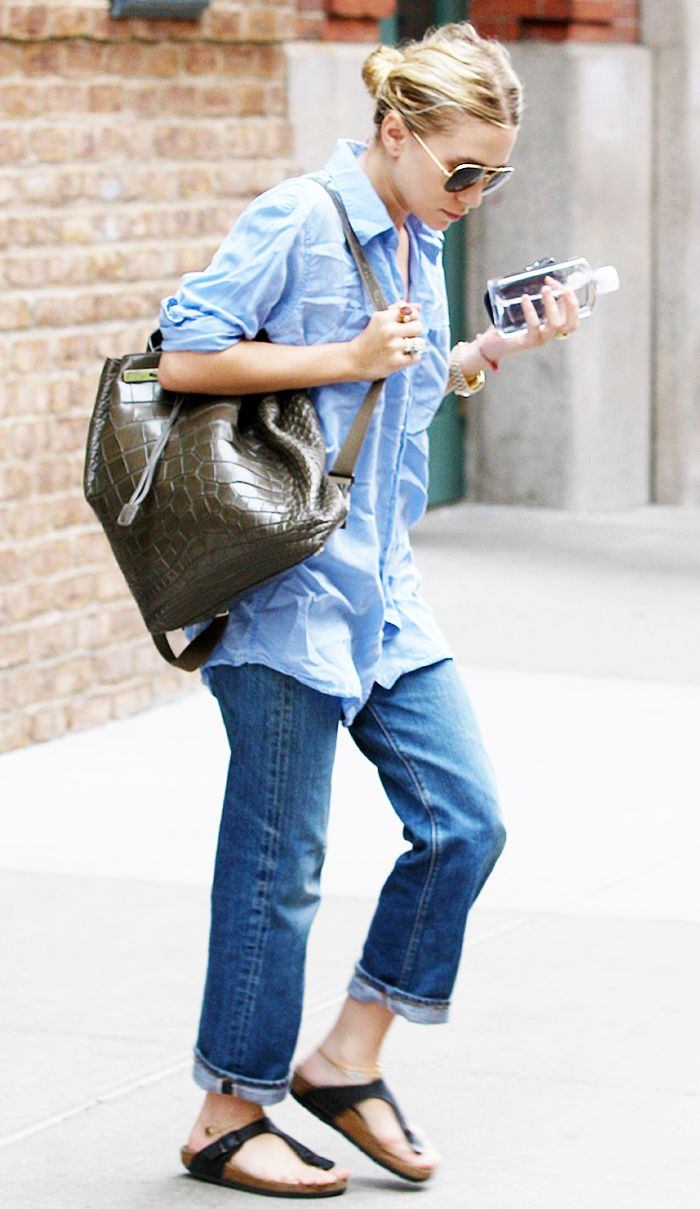 Button-down shirt, cuffed jeans, and sandals