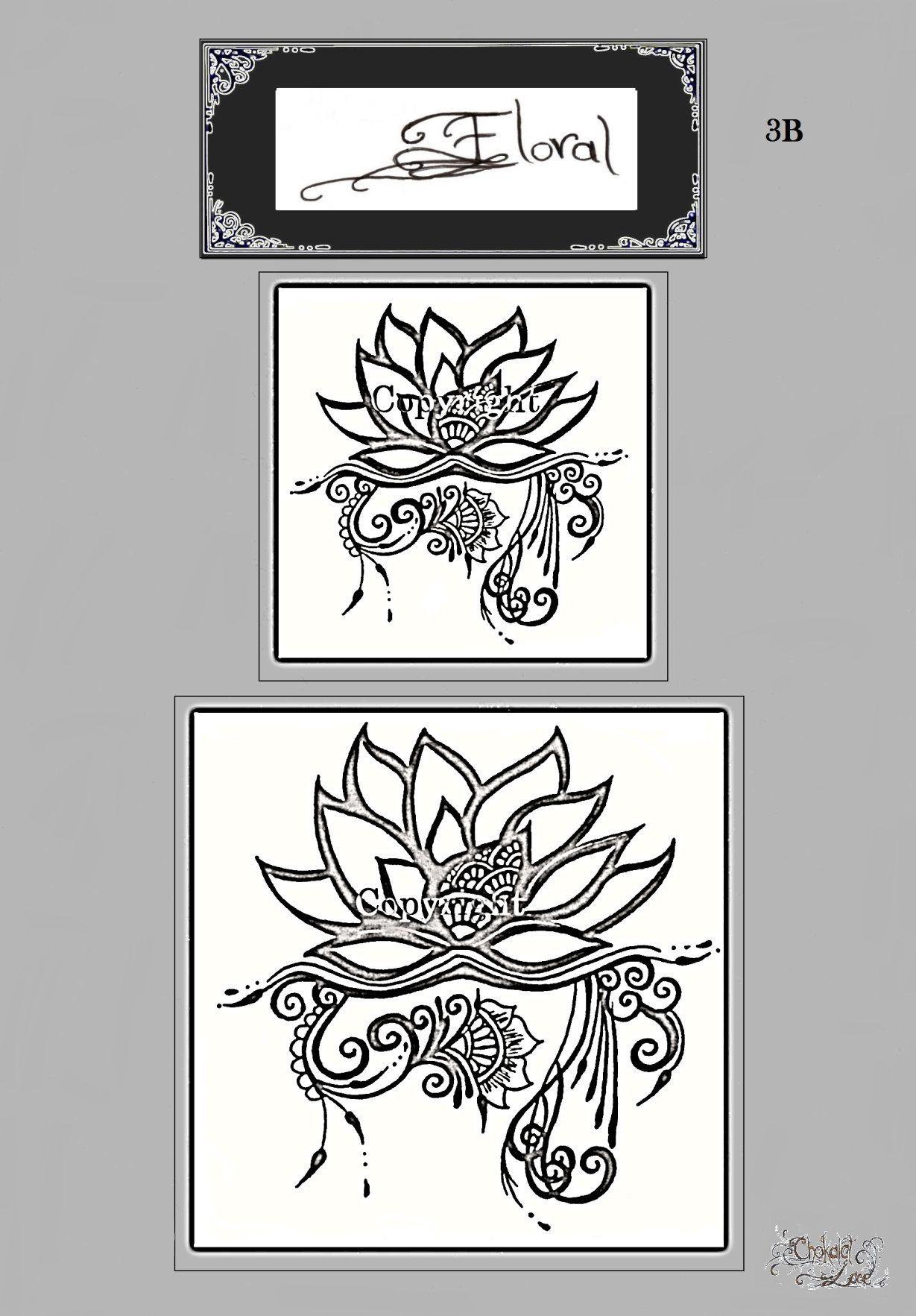 Floral 3b henna jagua tattoo stencil carbon