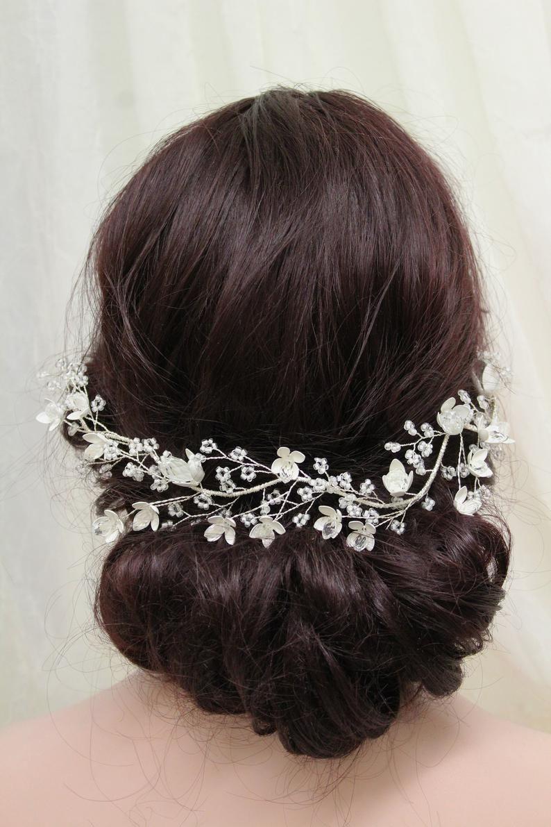 silver crystal wedding headband, bridal hair vine, bridal