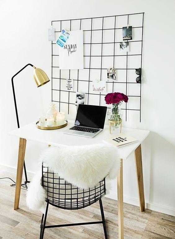 Hier Gibt Es Den Trend Gleich Im Doppelpack: Der Schwarze Stuhl überzeugt  Durch Sein Filigranes Draht Design Und Die Gitter Pinnwand Sorgt Für Einen  ...