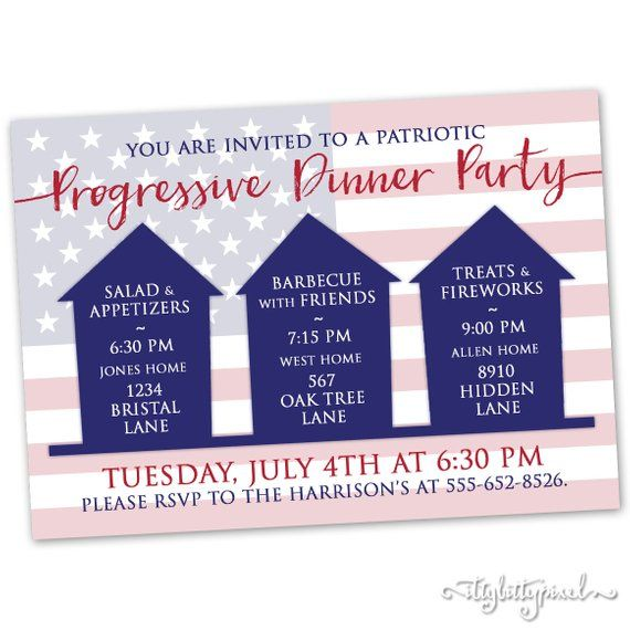 Progressive Dinner Party Invitation Patriotic Fourth Of July 4th