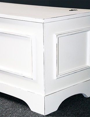 Details zu Massivholz Truhe Truhenbank Sitztruhe 84 cm Sitzbank weiß ...